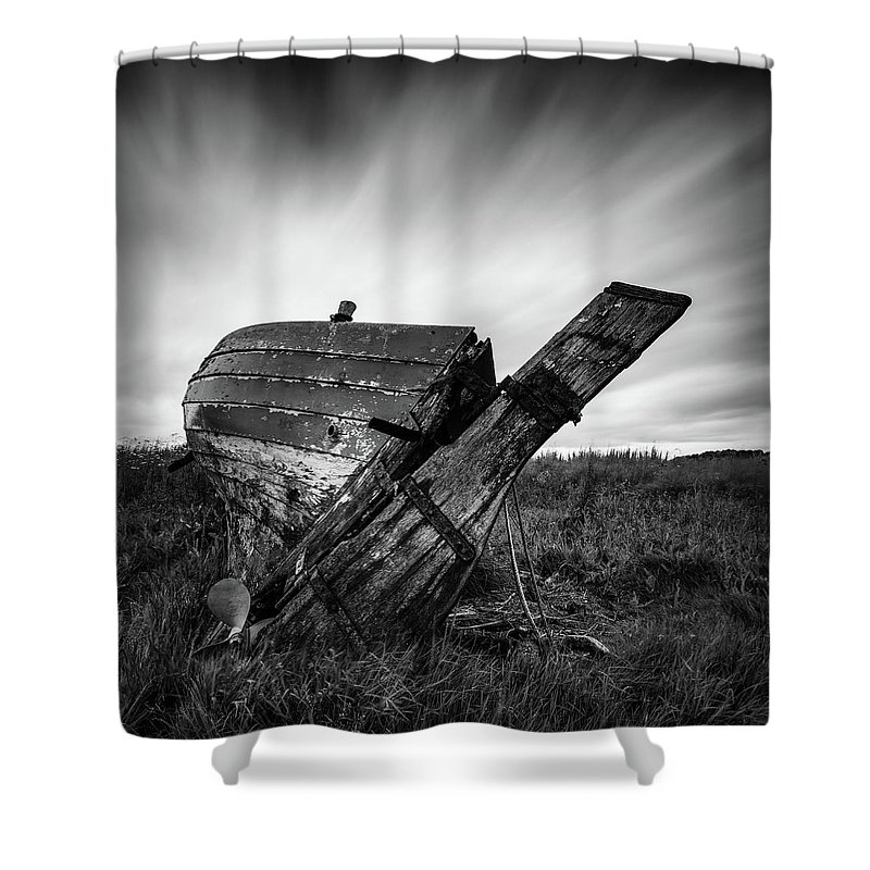 Fishing Boat Shower Curtain featuring the photograph St Cyrus Wreck by Dave Bowman