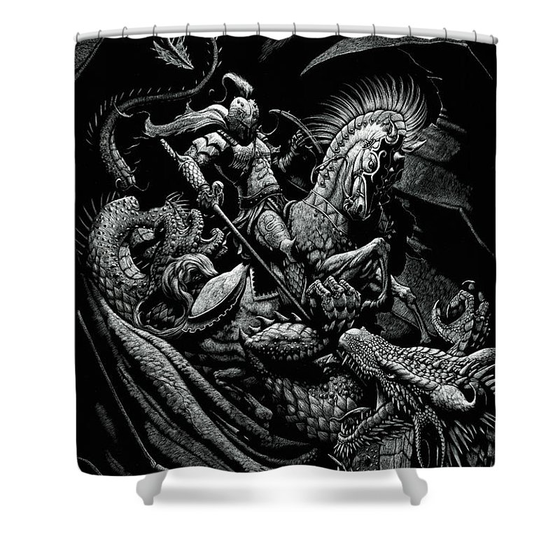 St George Shower Curtain Featuring The Drawing And Dragon By Stanley