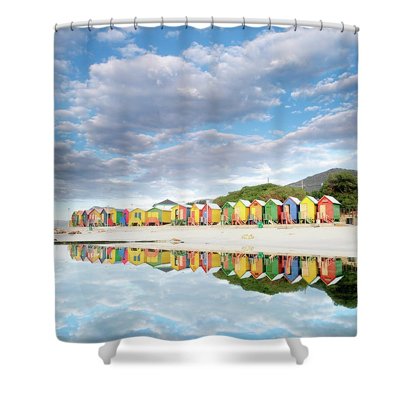 Beach Shower Curtain featuring the photograph St James Beach Huts South Africa by Neil Overy