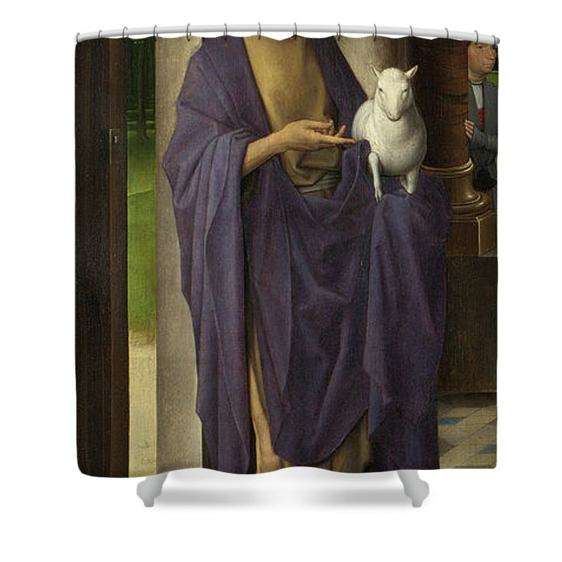 Memling Shower Curtain featuring the painting St John The Baptist From The Donne Triptych by Hans Memling
