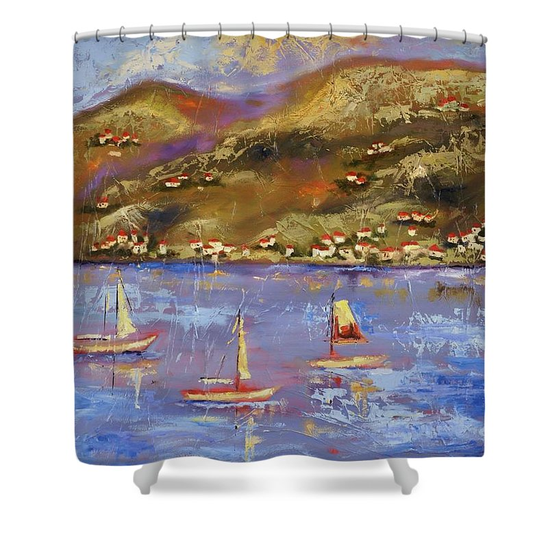 St. John Shower Curtain featuring the painting St. John Usvi by Ginger Concepcion