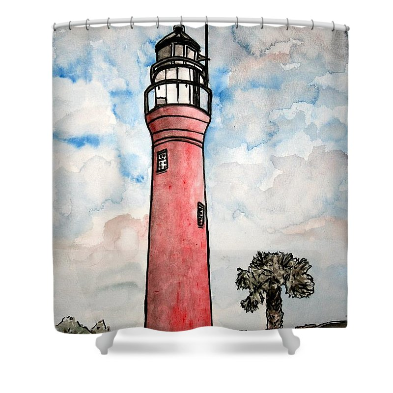 Lighthouse Shower Curtain featuring the painting St Johns River Lighthouse Florida by Derek Mccrea