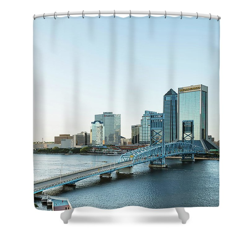 Jacksonville Shower Curtain featuring the photograph St Johns River Skyline, Jacksonville, Florida by Kay Brewer