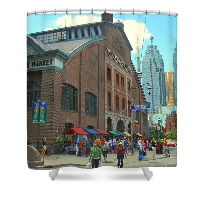 Market Shower Curtain featuring the photograph St Lawrence Market by Ian MacDonald
