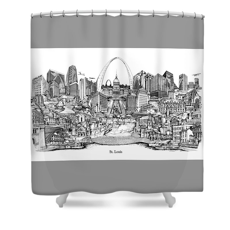 City Drawing Shower Curtain featuring the drawing St. Louis 4 by Dennis Bivens