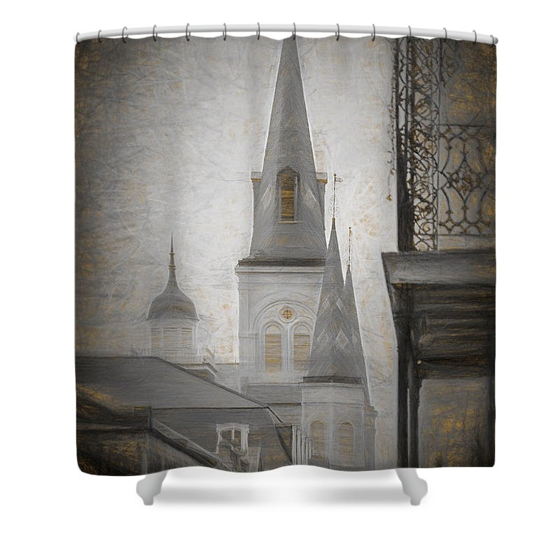 St. Louis Cathedral Shower Curtain featuring the photograph St. Louis Cathedral From Chartres St. - Nola by Kathleen K Parker