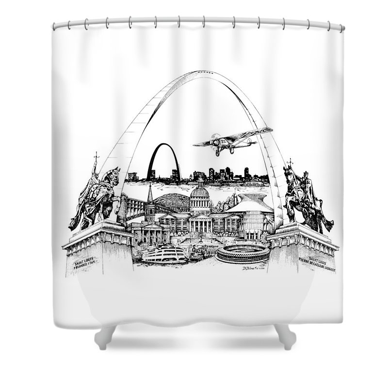 City Drawing Shower Curtain featuring the drawing St. Louis Highlights Version 1 by Dennis Bivens