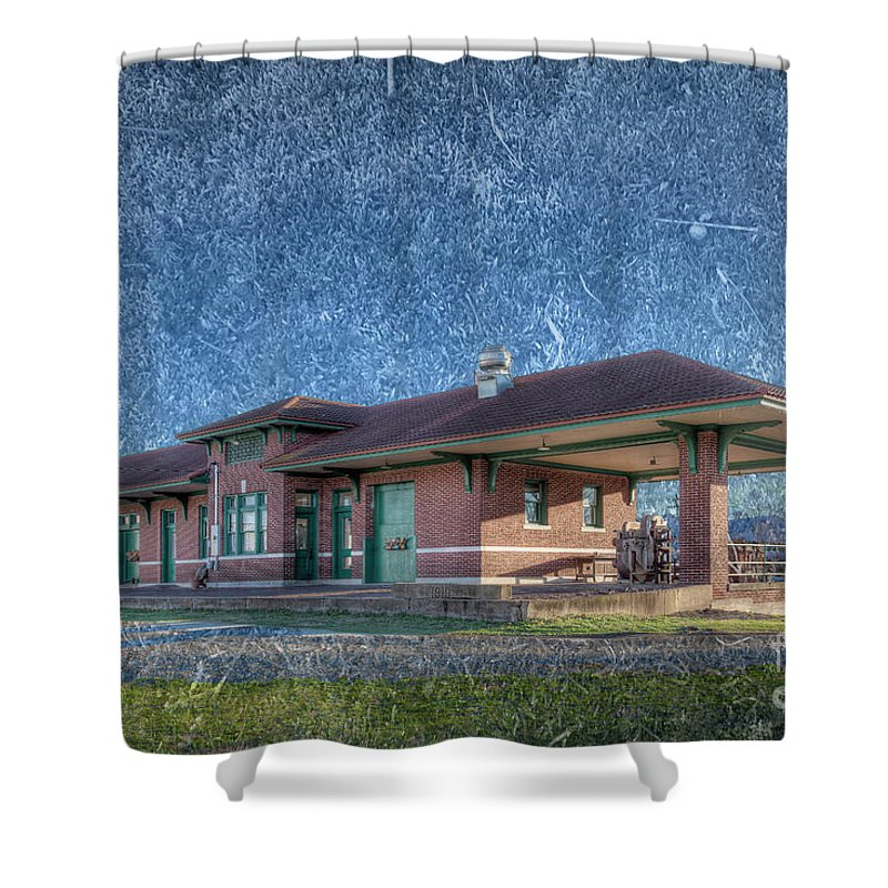 Red; Photography; Horizontal; Texture; Railroad; Historic; Old; Madison County; Missouri; Depot; 2017; Landscape; Larrybraunphotography; Station Shower Curtain featuring the photograph St Louis Iron Mountain Depot by Larry Braun