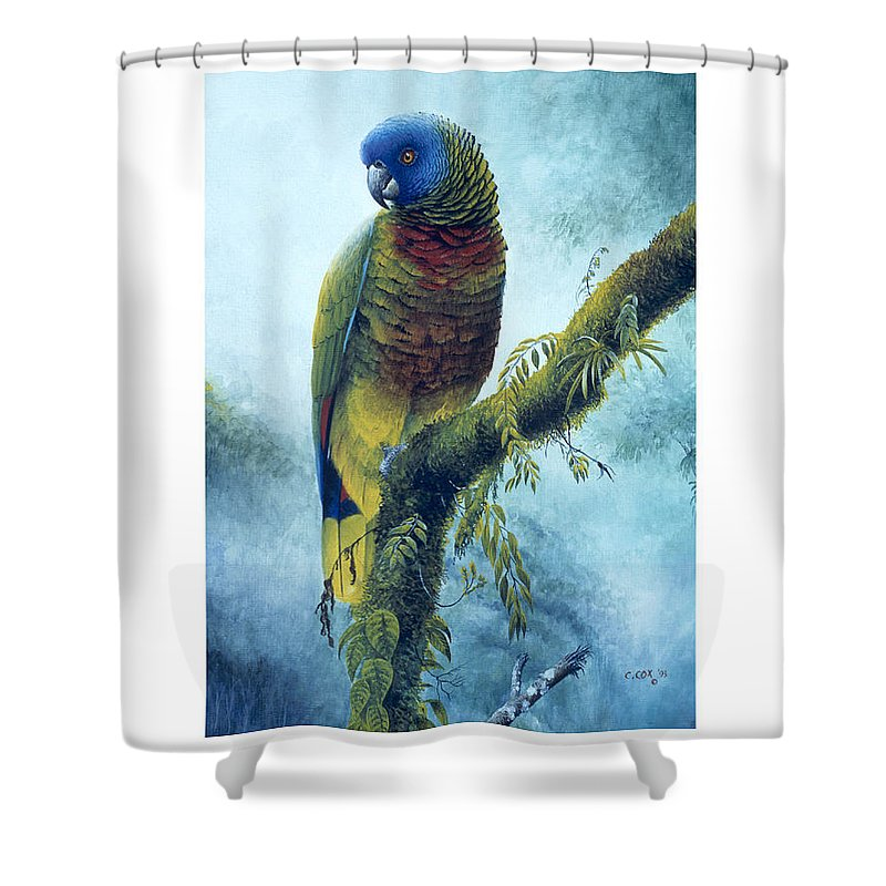Chris Cox Shower Curtain featuring the painting St. Lucia Parrot - Majestic by Christopher Cox