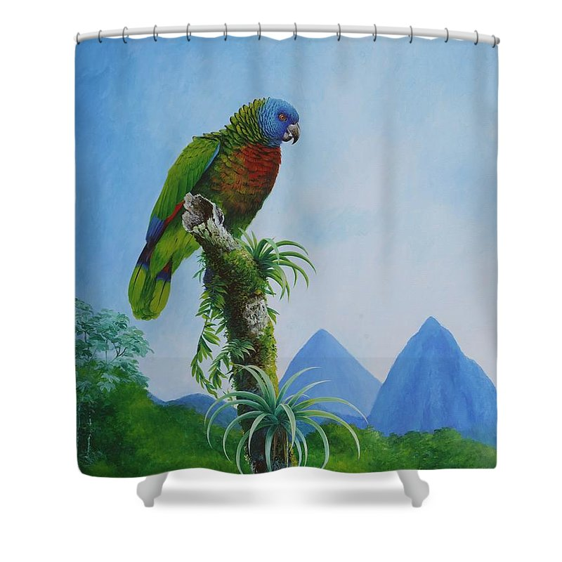 St Lucia Shower Curtain Featuring The Painting Parrot And Pitons By Christopher