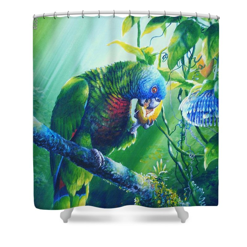 Chris Cox Shower Curtain featuring the painting St. Lucia Parrot And Wild Passionfruit by Christopher Cox