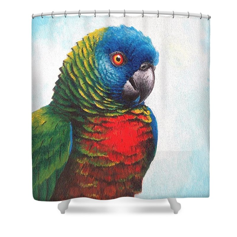 Chris Cox Shower Curtain featuring the painting St. Lucia Parrot by Christopher Cox