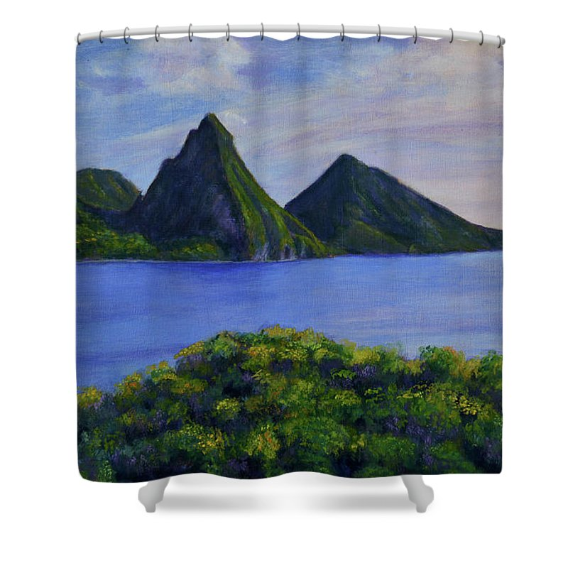 St Lucia Pitons Shower Curtain Featuring The Painting By Ron Henry