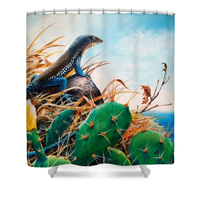 Chris Cox Shower Curtain Featuring The Painting St Lucia Whiptail By Christopher