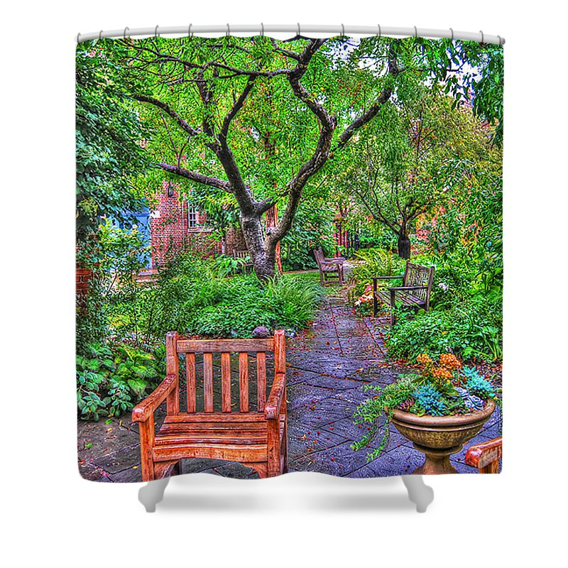 Greenwich Village Shower Curtain featuring the photograph St. Luke Garden Sanctuary by Randy Aveille