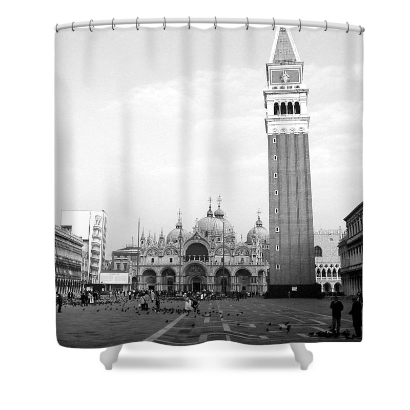 Venice Shower Curtain featuring the photograph St. Mark's Square by Donna Corless