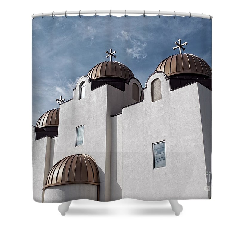St Mary And St Abraam Coptic Orthodox Church Shower Curtain featuring the photograph St Mary And St Abraam Coptic Orthodox Church by Luther Fine Art
