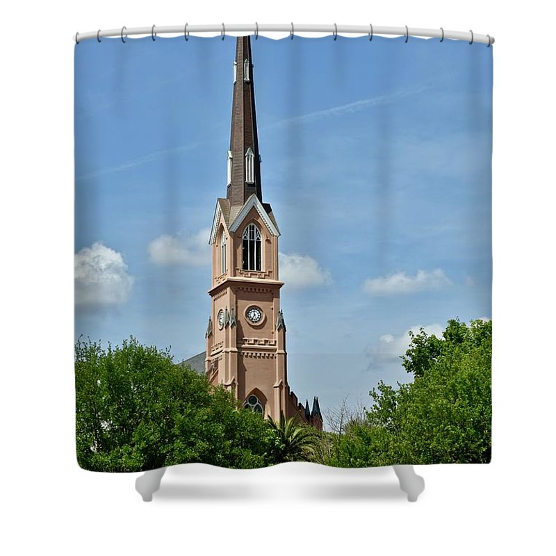 Cathedral Shower Curtain featuring the photograph St. Matthew's German Evangelical Lutheran Church In Charleston by Jeramey Lende