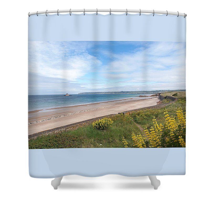 Coastal Scene Shower Curtain featuring the photograph St Ouen's Bay Jersey by Gill Billington
