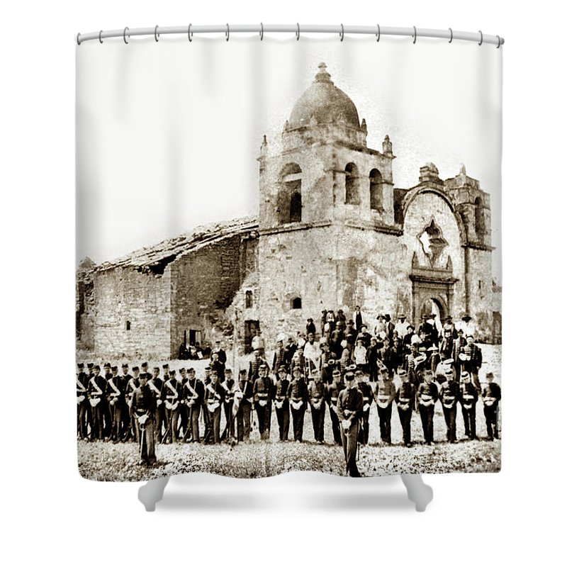 St. Patrick's Cadets On The Third Of July Shower Curtain featuring the photograph St. Patrick's Cadets On The Third Of July, 1882 At The by California Views Archives Mr Pat Hathaway Archives