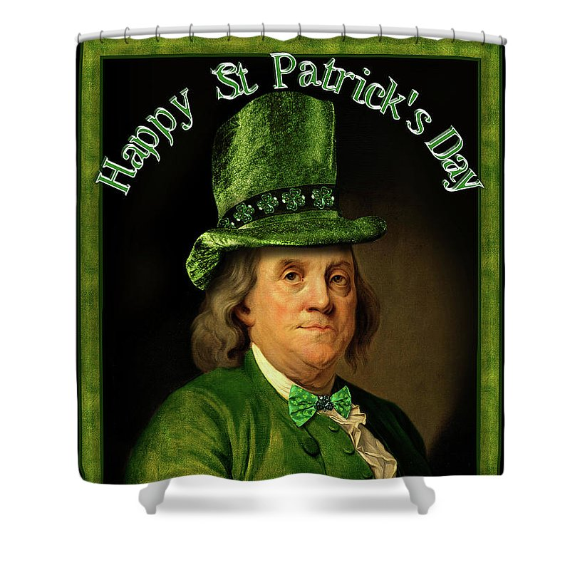 Ben Franklin Shower Curtain featuring the painting St Patrick's Day Ben Franklin by Gravityx9 Designs