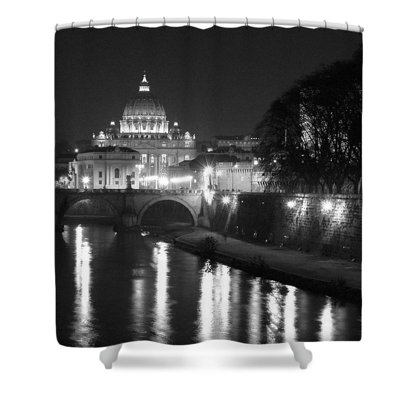 Italy Shower Curtain featuring the photograph St. Peters At Night by Donna Corless