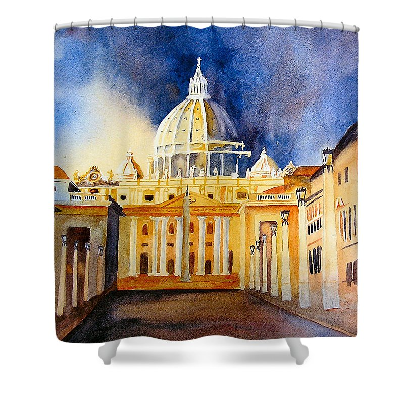 Vatican Shower Curtain featuring the painting St. Peters Basilica by Karen Stark