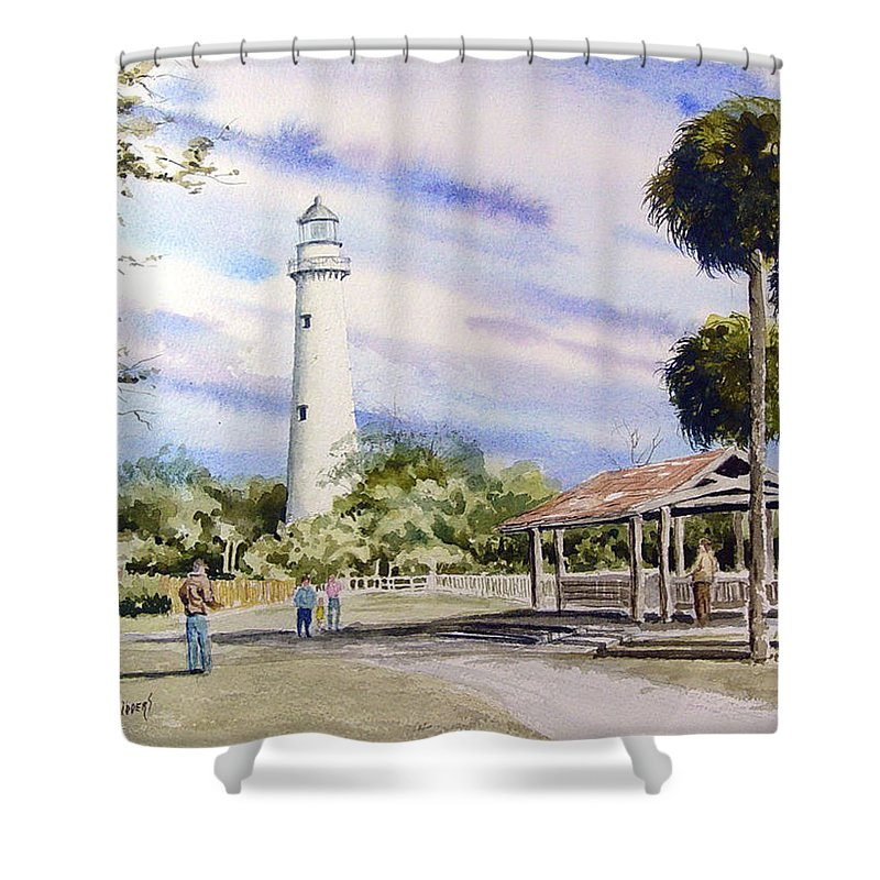 Lighthouse Shower Curtain featuring the painting St. Simons Island Lighthouse by Sam Sidders