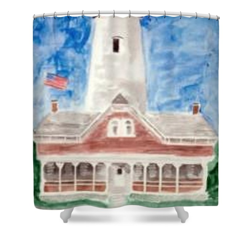 Watercolor Landscape Lighthouse Seascape Painting Shower Curtain featuring the painting St Simons Lighthouse Nautical Painting Print by Derek Mccrea