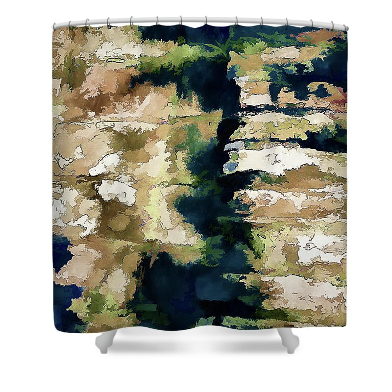 St Thomas Shower Curtain featuring the photograph St Thomas - Brick Wall Shadow by Stefan H Unger