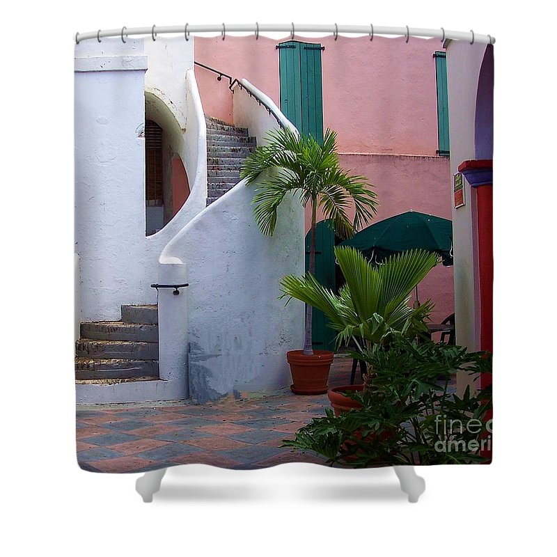 Architecture Shower Curtain featuring the photograph St. Thomas Courtyard by Debbi Granruth