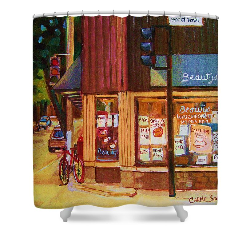 Beautys Shower Curtain featuring the painting St Urbain And Mount Royal by Carole Spandau