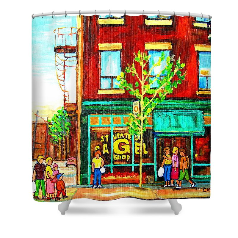 Cityscapes Shower Curtain featuring the painting St. Viateur Bagel With Shoppers by Carole Spandau
