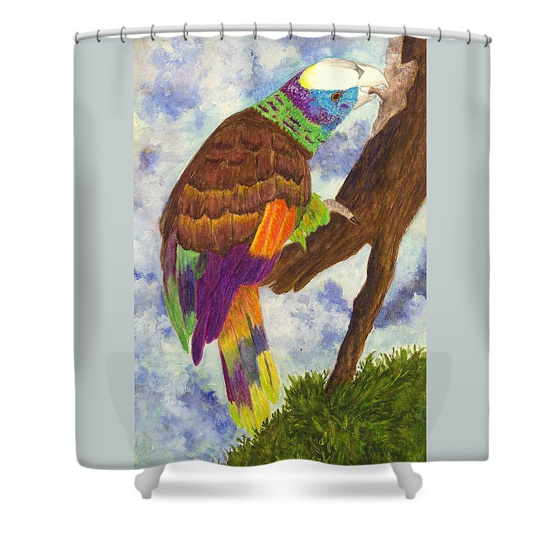 Birds Shower Curtain featuring the painting St. Vincent Parrot by Michael Vigliotti