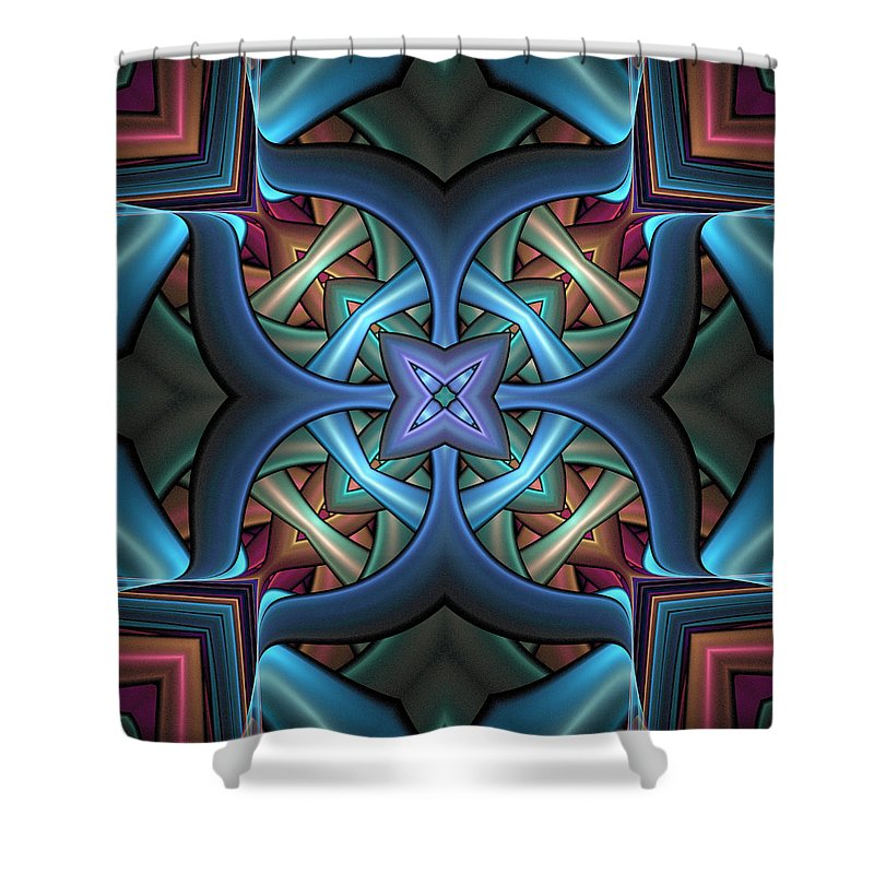 Digital Art Shower Curtain featuring the digital art Stacked Kaleidoscope by Amanda Moore