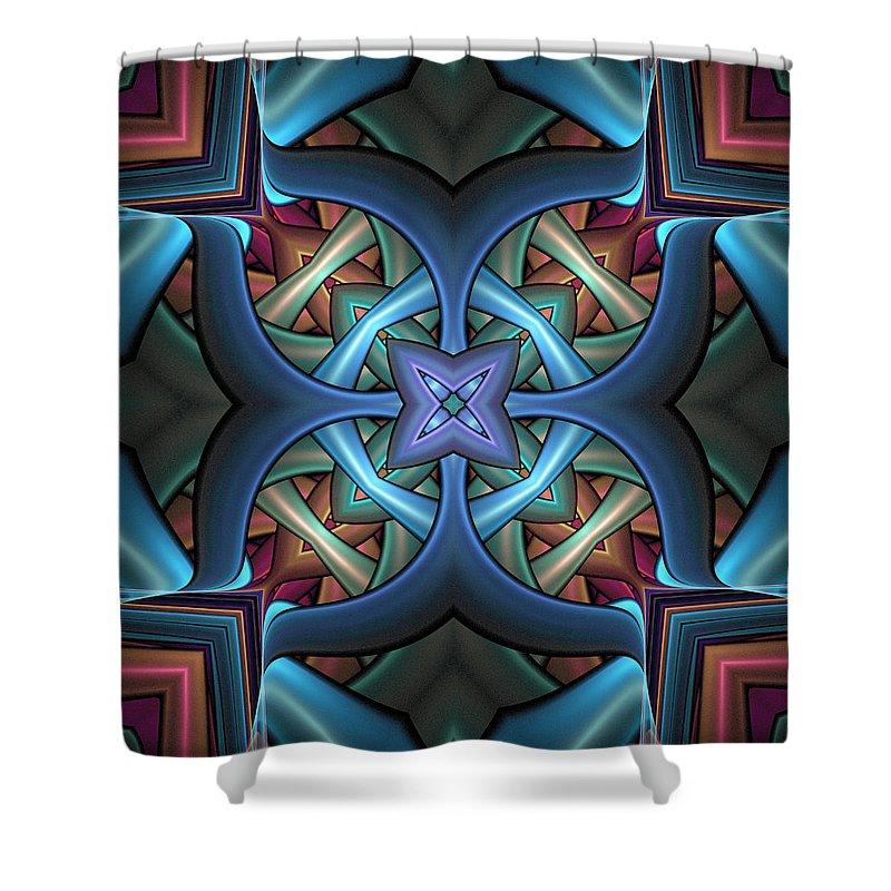 Digital Art Shower Curtain featuring the digital art Stacked Kaleidoscope by Amanda Moore
