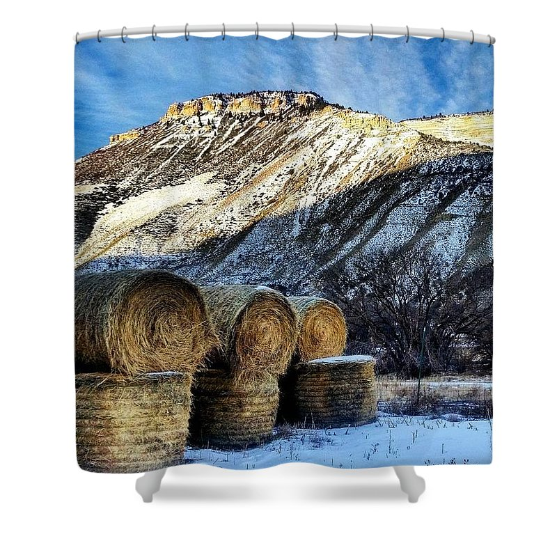 Straw Shower Curtain featuring the photograph Stacked Mountains by Christopher Wilson