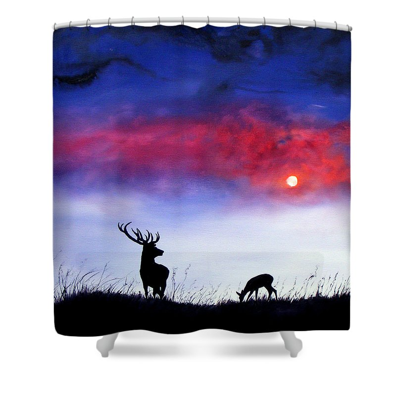 Stag Shower Curtain featuring the painting Stag And Deer In Moonlight by Linda Woodward
