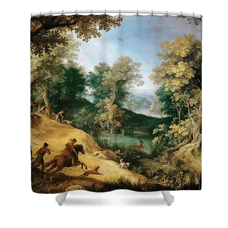 Attributed To Paul Bril Shower Curtain featuring the painting Stag Hunt by Attributed to Paul Bril