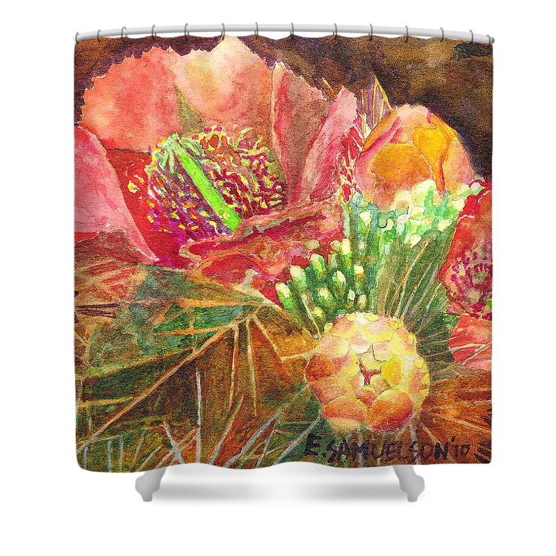 Staghorn Shower Curtain featuring the painting Staghorn In Bloom by Eric Samuelson