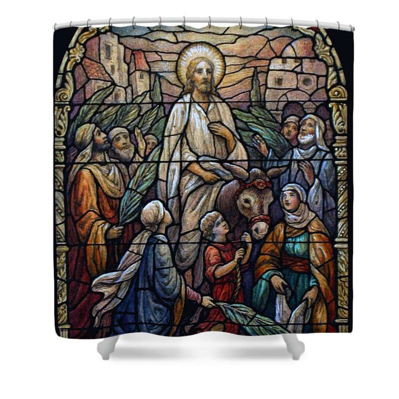 Palm Shower Curtain featuring the photograph Stained Glass - Palm Sunday by Munir Alawi