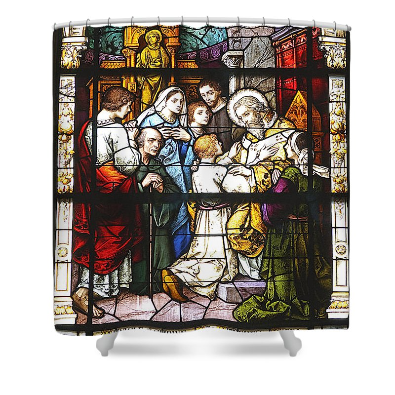 Church Shower Curtain featuring the photograph Stained Glass 1 by Kenneth Albin
