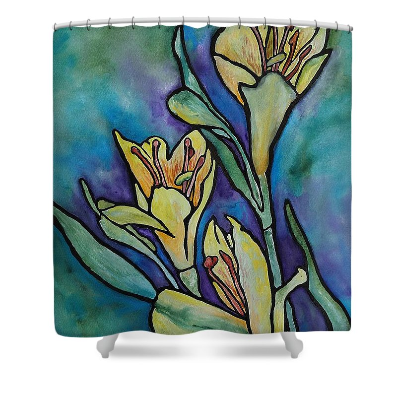 Flowers Shower Curtain featuring the painting Stained Glass Flowers by Ruth Kamenev