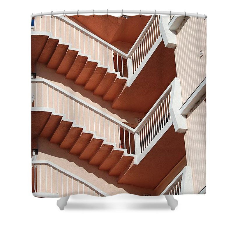 Architecture Shower Curtain featuring the photograph Stairs And Rails by Rob Hans