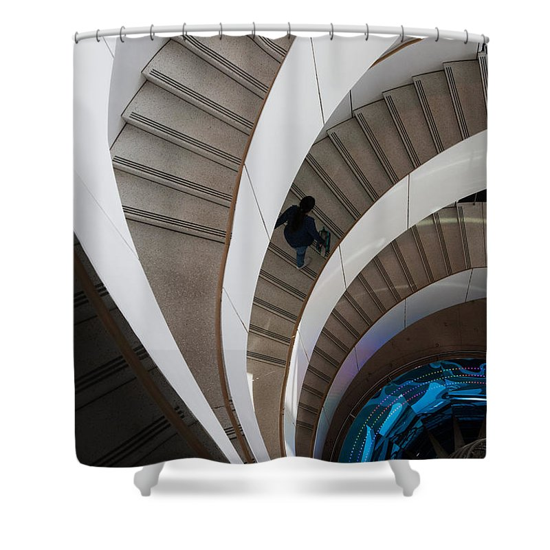 Architecture Shower Curtain featuring the photograph Stairs Bruininks Hall University Of Minnesota Campus by Wayne Moran