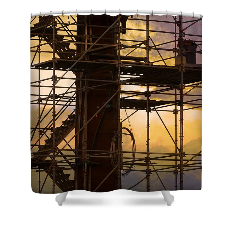 Abstract Shower Curtain featuring the photograph Stairs Lines And Color Abstract Photography by James BO Insogna