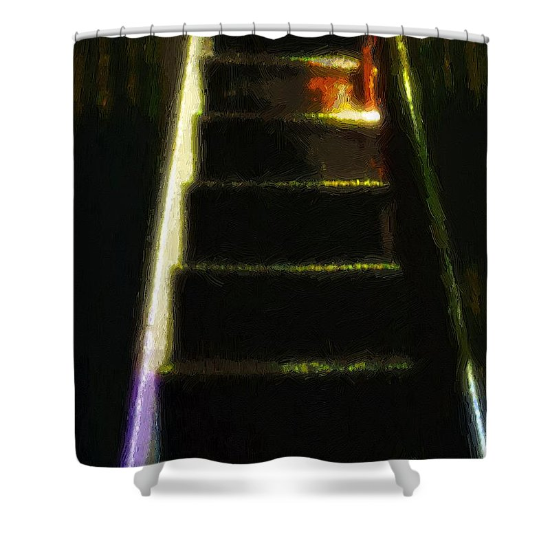 Stairs Shower Curtain featuring the painting Stairs To The Madwoman's Attic by RC DeWinter