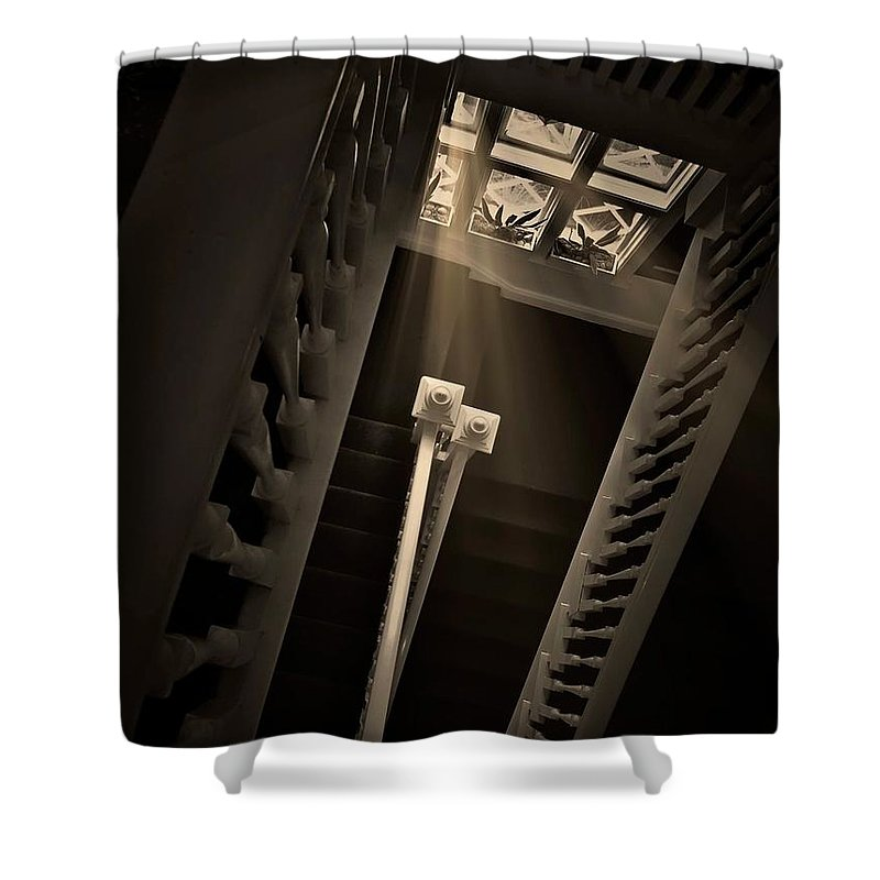 Old Shower Curtain featuring the photograph Stairway Light, Redstone Castle, Colorado by Zayne Diamond Photographic