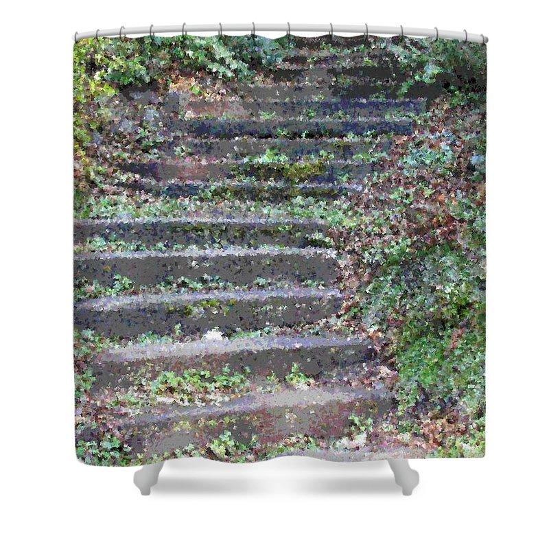 Stair Shower Curtain featuring the digital art Stairway by Tim Allen