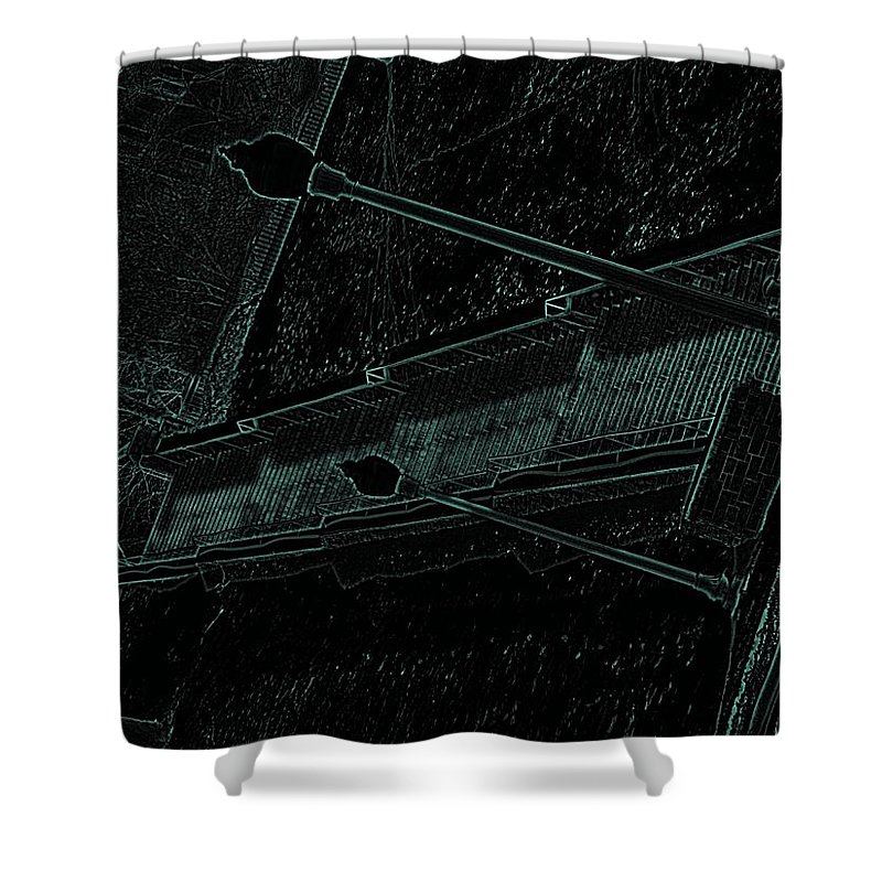 Black Shower Curtain featuring the photograph Stairway To-blue by Charleen Treasures